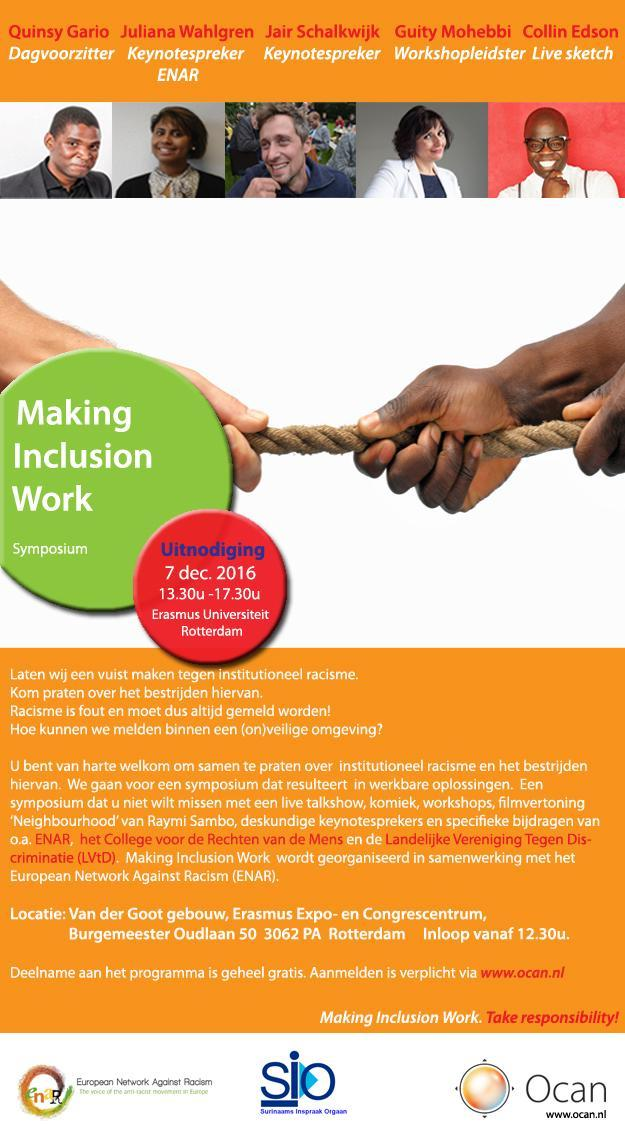 UITNODIGING Ocan symposium Making Inclusion Work ENAR discriminatie racisme