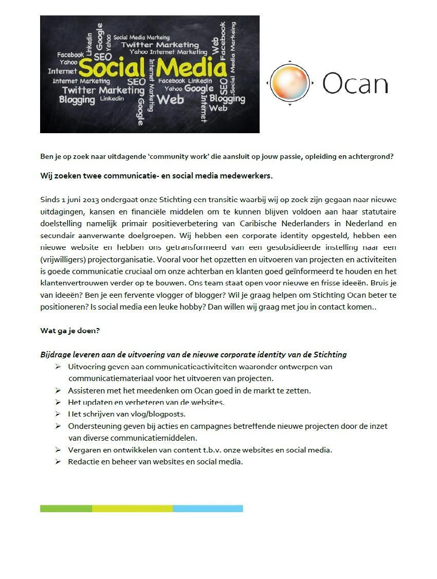 Advertentie vrijwilligers Communicatie Ocan caribisch seo sociale media