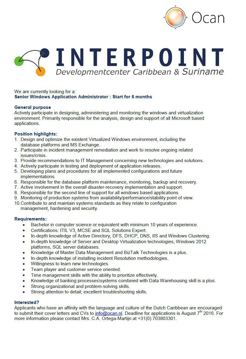 Vacancy Senior Windows Application Admin Interpoint Aruba Aruba EDIT Ocan