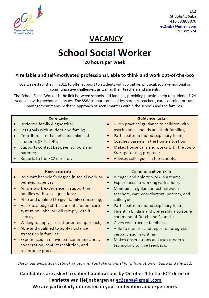 Vacature EC2 Saba  School Social Worker Ocan caribisch nederland