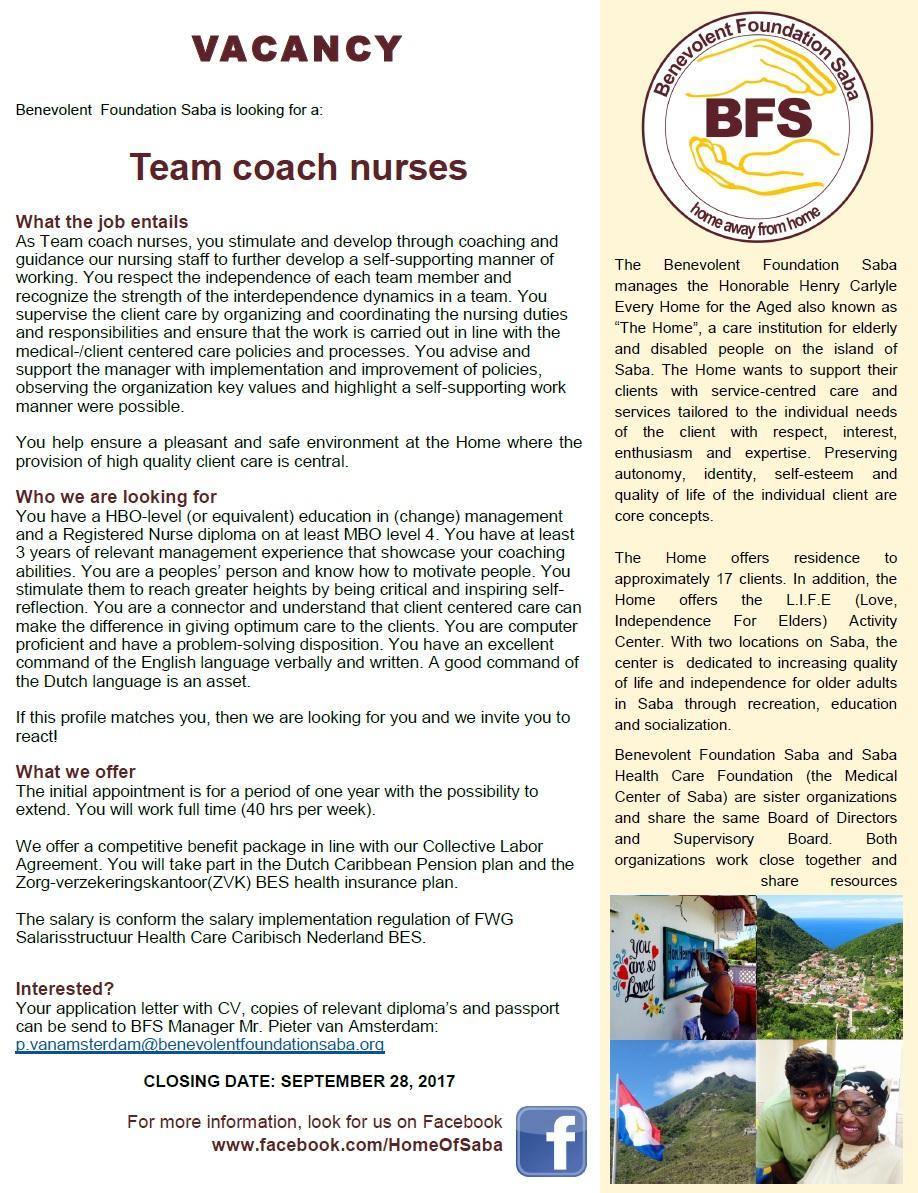Vacature Team Coach Nurses Benevolent Foundation Saba Ocan Caribish Nederland